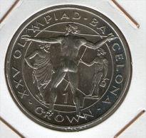 GIBRALTAR *** 1 Crown / Corona  1991 ***  Barcelona Olympics 1992 - Cu-Ni - 38.8 Mm - KM# 69 - Gibraltar