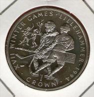 GIBRALTAR *** 1 Crown / Corona  1993 ***  XVII Winter Olympics Lillehammer Ice Hockey - Cu-Ni - 38.8 Mm - KM# 146 - Gibraltar