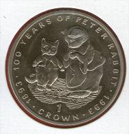 GIBRALTAR *** 1 Crown / Corona  1993 ***  Tales Of Peter Rabbit - Tom Kitten With Mother Cat - Cu-Ni - 38.8 Mm - KM# 213 - Gibraltar