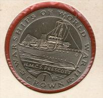 GIBRALTAR *** 1 Crown / Corona  1993 ***  Warships Of WWII - HMCS Prescott - Cu-Ni - 38.8 Mm - KM# 120 - Gibraltar