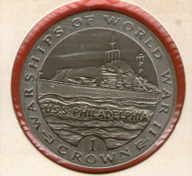 GIBRALTAR *** 1 Crown / Corona  1993 ***  Warships Of WWII - USS Philadelphia- Cu-Ni - 38.8 Mm - KM# 113 - Gibraltar