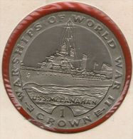 GIBRALTAR *** 1 Crown / Corona  1993 ***  Warships Of WWII - USS McLanahan- Cu-Ni - 38.8 Mm - KM# 114 - Gibraltar