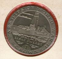 GIBRALTAR *** 1 Crown / Corona  1993 ***  Warships Of WWII - HNLMS Isaac Sweers- Cu-Ni - 38.8 Mm - KM# 115 - Gibraltar