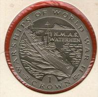 GIBRALTAR *** 1 Crown / Corona  1993 ***  Warships Of WWII - HMAS Waterhen - Cu-Ni - 38.8 Mm - KM# 123 - Gibraltar