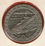 GIBRALTAR *** 1 Crown / Corona  1993 ***  Warships Of WWII - HMS Warspite - Cu-Ni - 38.8 Mm - KM# 117 - Gibraltar