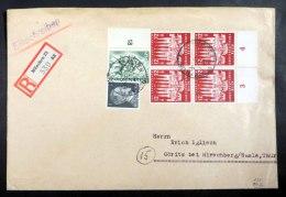 Mi.Nr. 862, Unterrand-4er-Block Mit Weiteren Werten Auf R-Brief Von München Nach Göritz - Briefe U. Dokumente