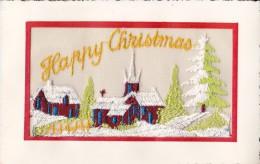 CPA. JOLIE CARTE BRODÉE. HAPPY CHRISTMAS. JOYEUX NOËL . PAYSAGE DE NEIGE - Santa Claus