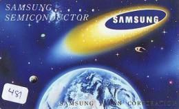 Télécarte Japon ESPACE * Phonecard JAPAN * SPACE  (481)  PLANETE * Météorite * COSMOS * GLOBE * TK * WELTRAUM * SAMSUNG - Astronomie