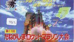 Télécarte Japon ESPACE * Phonecard JAPAN * SPACE SHUTTLE  (482)  PLANETE * COSMOS * GLOBE * TK * WELTRAUM * NASDA - Astronomie