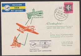 DDR Deutsche Lufthansa Erstflugbrief Schwerindustrie Karl-Marx-Stadt  -  Leipzig 1958 , Abb. Chemnitzer Flughafen - Covers & Documents
