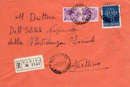 1960 STORIA POSTALE RACCOMANDATA EURO LIRE 60+COPPIA SIRACUSANA 25 LIRE DA BONITO(AVELLINO)--R271 - 1946-60: Storia Postale