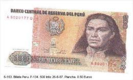 Billex6-163. Billete Perú P-134.500 Intis  26-6-87 - Perú
