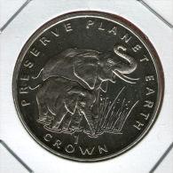 GIBRALTAR *** 1 Crown / Corona  1994 ***  Preserve Planet Earth - African Elephants - Cu-Ni - 38.8 Mm - KM# 245 - Gibraltar