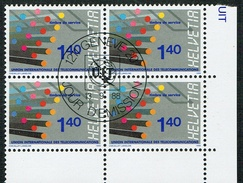 TIMBRES OBLITERES 1er/JOUR 1988 .U.I.T. BLOC DE 4 C/.S.B.K. Nr:14. Y&TELLIER Nr:466. MICHEL Nr:14. - Service
