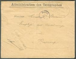 Enveloppe à En-tête Administration Des Télégraphes + Franchise De L'AGENT COMPTABLE DES TELEPHONES Et Griffe Ovale BUREA - Telegraph