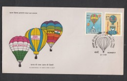 INDIA, 1983,  FDC, Manned Flight,  Bicentenary, Set, 2 V,  Bombay Cancellation - India
