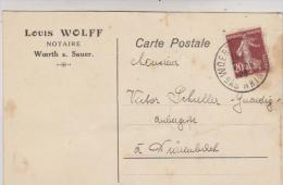 CPA DPT 67 WOERTH S. SAUER, ECRITE PAR NOTAIRE LOUIS WOLF En 1923!! - Woerth