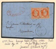 N°31 En Paire  Sur Lettre De JONZAC P.c. 1883 Des Gros Chiffres Ind.9 - 1863-1870 Napoléon III Lauré