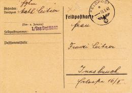 Feldpost WW2: 3/Transport Begl. Bataillon 982 Dtd 19.3.1943 - Plain Postcard  (G46-31) - Militaria