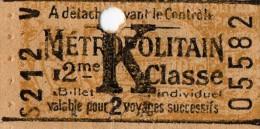Ticket - Billet de m�tropolitain 2 �re classe K  (au dos pub pour lame de rasoir