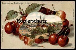 ALTE LITHO-PRÄGE-POSTKARTE SOUVENIR DE DUDELANGE Düdelingen Kirsche Cherry Cerise Luxemburg Luxembourg Cpa Postcard - Dudelange