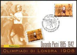 ATHLETICS / OLYMPIC GAMES - ITALIA CARPI 2008 - DORANDO PIETRI - OLIMPIADI DI LONDRA 1908 - CARTOLINA POSTE ITALIANE