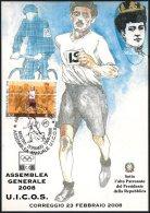 ATHLETICS / OLYMPIC GAMES - ITALIA CORREGGIO 2008 - ASSEMBLEA ANNUALE UICOS - MOSTRA DORANDO PIETRI - CARTOLINA UICOS