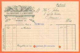 """75  Paris  - Facture ED Blondel La Rougery  """" Editeur  """"  1932 - De Paris A Chaumont - Stamperia & Cartoleria"""