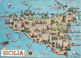 Sicilia  Italy  A-1867 - Landkarten