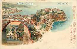 Dépts  Divers - Monaco - Ref H406  - Monte-carlo -vue Générale - Vallon Et Chapelle Ste-dévote En Médaillon - - Monte-Carlo