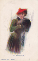 J De Yonch Skating Girl 1908 - Künstlerkarten
