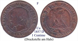 F-1857 D, 1 Centime - France