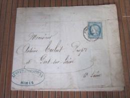 9-10-1871 Cérés Seul Sur Lettre (facture Entête )de Nimes Pr Port Sur Saône Haute Saône Vinaigre Vin Rouge En Fut - Marcophilie (Lettres)