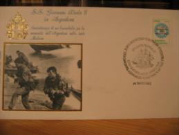 ARGENTINA 1982 VISITA GIOVANNI PAOLO II FRANCOBOLLO SOVRASTAMPATO LAS MALVINAS SON ARGENTINAS - Argentina