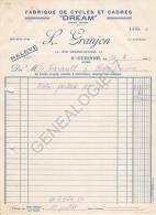 42 1281 SAINT ETIENNE LOIRE 1939  Fabrique De Cadres & Cycles L. GRANJON Marque DREAM Rue Eugene Muller à FARAULT - Automobile