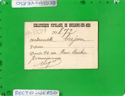BIBLIOTHEQUE POPULAIRE DE BOULOGNE SUR MER - Visitenkarten