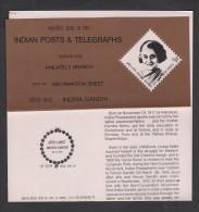 INDIA, 1984 , INDIRA GANDHI, Ex-Prime Minister Of India. SG 1138, Folder, Brochure. - India