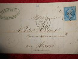 EE_20_lettre Avec Etoile 2 Sur 22 A Etudier,verso - 1849-1876: Période Classique