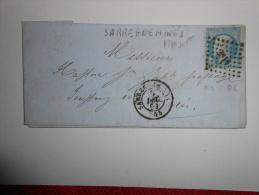 EE_43_lettre   De Sarreguemines,belle Nuance ,a Etudier, Verso, - 1849-1876: Période Classique