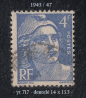 1945- 47 - Europe - France - Marianne De Gandon - 4 F. Bleu -