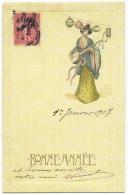 CPA Illustrée   Bonne Année , Japon, Femme, Geisha - Nouvel An
