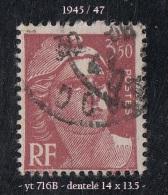 1945- 47 - Europe - France - Marianne De Gandon - 3 F. 50 Rouge-brun -