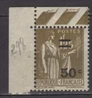 France N° 298 Luxe ** - 1932-39 Peace