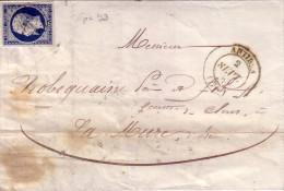 VAR - ANTIBES (78) TCACHET TYPE 14 DU 2-9-1856 N°14 OBLITERATION PC93 - INDICE 14 - COTE 120€. - Storia Postale