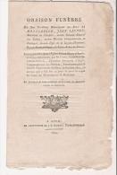 RARE L'ORAISON FUNEBRE 1810 DU DUC DE MONTEBELLO JEAN LANNES MARECHAL D'EMPIRE DE NAPOLEON BONAPARTE  A AUCH - Historical Documents