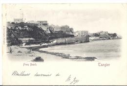 Cp Afrique MAROC TANGER Tangier From Beach  ( Rue Plage ) Précurseur Pionnière Timbre Colonie Surchargé Type Sage 10c - Tanger