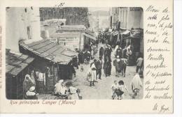 Cp Afrique MAROC TANGER Tangier Rue Principale ( Commerce ) Précurseur Pionnière Timbre Colonie Surchargé Type Sage 10c - Tanger