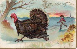 Illustrée Gaufrée TUCK : Dindon Poursuivi Par Un Petit Garçon THANKSGIVING DAY - Thanksgiving