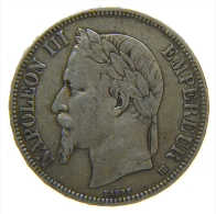 FRANCIA FRANCE 5 FRANCS 1869 BB  ARGENT SILBER SILVER 1908 NAPOLEON III - Francia