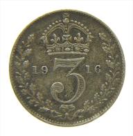 GREAT BRITAIN 3 PENCE 1916 SILVER - 1902-1971 : Monete Post-Vittoriane